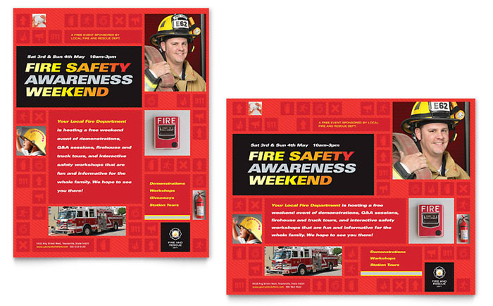 fire safety poster template design