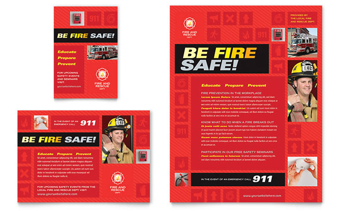 Fire Safety Flyer & Ad Template Design Download - InDesign, Illustrator, Word, Publisher, Pages