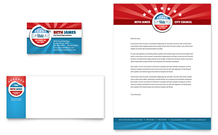 political candidate business card letterhead template design