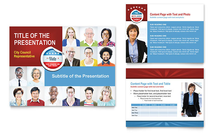 Political candidate powerpoint presentation template design for Campaign literature templates
