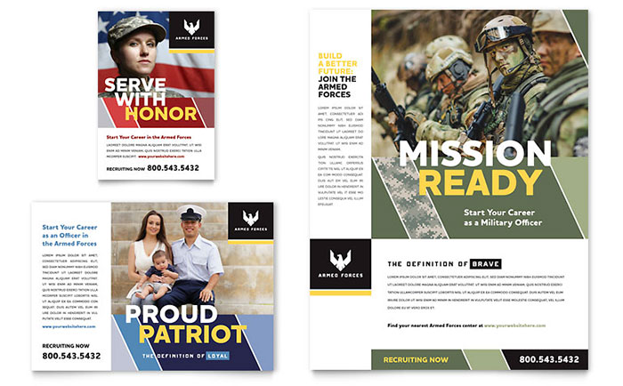 military flyer  u0026 ad template design