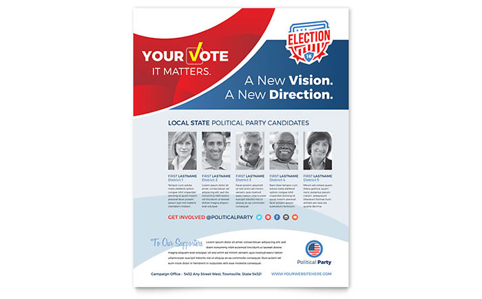 Election Flyer Template Design - InDesign, Illustrator, Word, Publisher, Pages