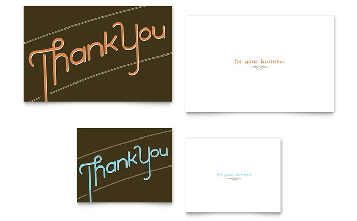 Thank you cards templates brochures flyers business cards thank you note card thank you for your business note card template accmission Images