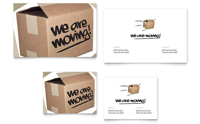 Business moving announcement template design were moving note card accmission