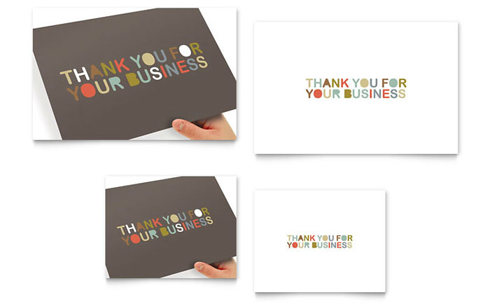 thank you for your business note card template design. Black Bedroom Furniture Sets. Home Design Ideas