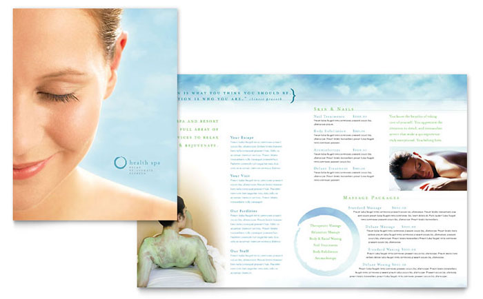 Day spa resort brochure template design for Massage brochure template