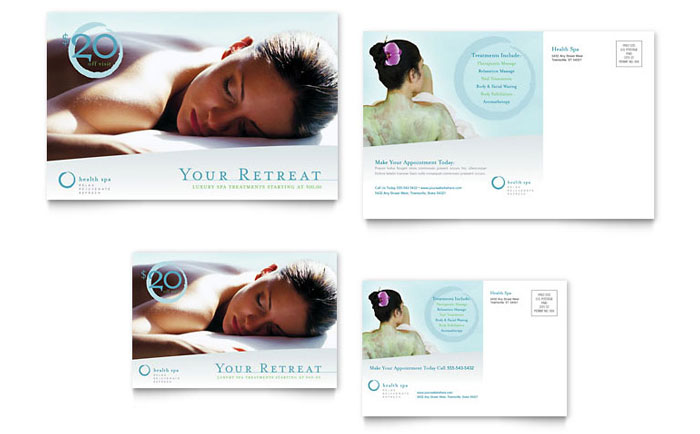 Day Spa & Resort Postcard Template Design - InDesign, Illustrator, Word, Publisher, Pages