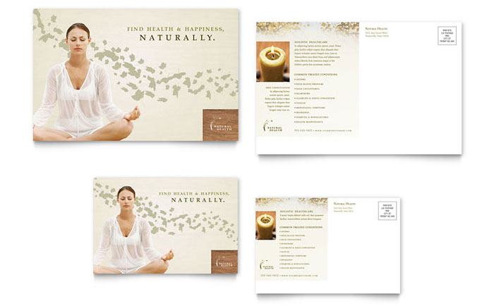 Naturopathic Medicine Postcard Template Design Download - InDesign, Illustrator, Word, Publisher, Pages
