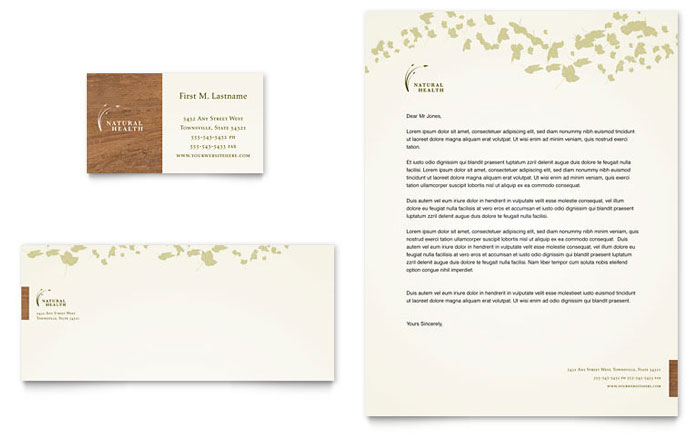 Naturopathic Medicine Business Card & Letterhead Template Design Download - InDesign, Illustrator, Word, Publisher, Pages