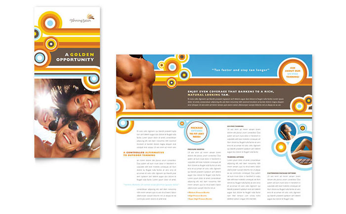 Tanning Salon Brochure Template Design