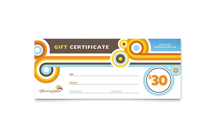 Tanning Salon Gift Certificate Template Design - InDesign, Illustrator, Word, Publisher, Pages