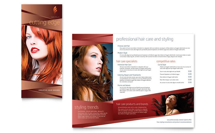 Hair Stylist Amp Salon Brochure Template Design
