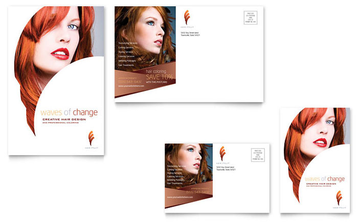 Hair Stylist Salon Postcard Template Design - Hair salon brochure templates