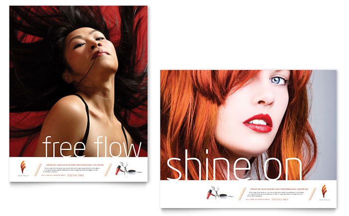 Hair Stylist & Salon Poster Template Design - InDesign, Illustrator, Word, Publisher, Pages