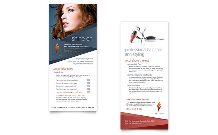 hair stylist salon rack card template design