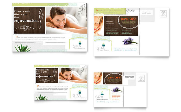 Day Spa Postcard Template Design