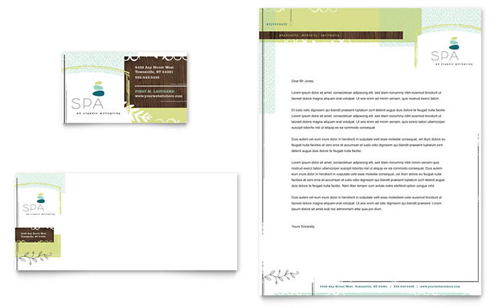 day spa business card  u0026 letterhead template design