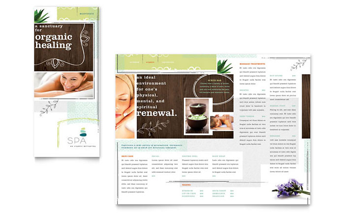 Day Spa Tri Fold Brochure Template Design - Spa brochure templates