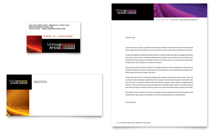 Makeup Artist Business Card & Letterhead Template Design - InDesign, Illustrator, Word, Publisher, Pages