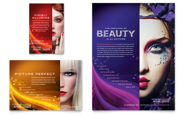 Makeup artist flyer ad template design for Ad designs