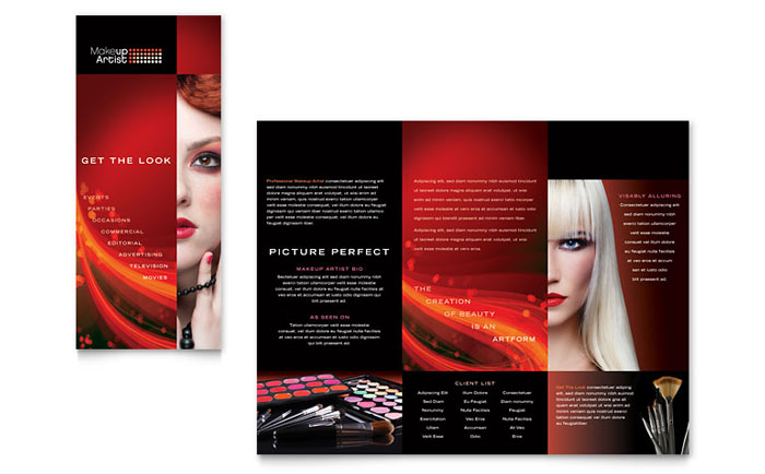 Makeup artist tri fold brochure template design for Brochure template mac