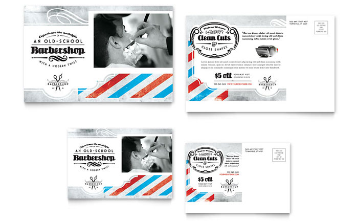 Barbershop Postcard Template Design Download - InDesign, Illustrator, Word, Publisher, Pages