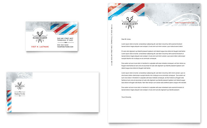 Barbershop business card letterhead template design friedricerecipe Choice Image