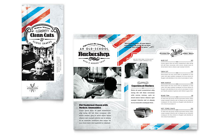 Barbershop Tri Fold Brochure Template Design Download - InDesign, Illustrator, Word, Publisher, Pages