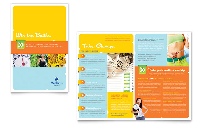 Weight loss clinic brochure template design for Brochure templates publisher free