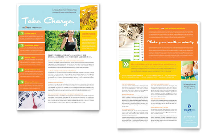 Weight Loss Clinic Datasheet Template Design Download - InDesign, Illustrator, Word, Publisher, Pages