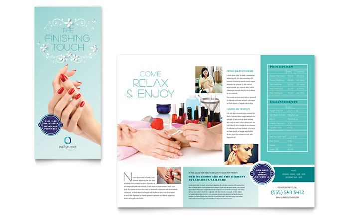 Nail technician brochure template design for Planned giving brochures templates