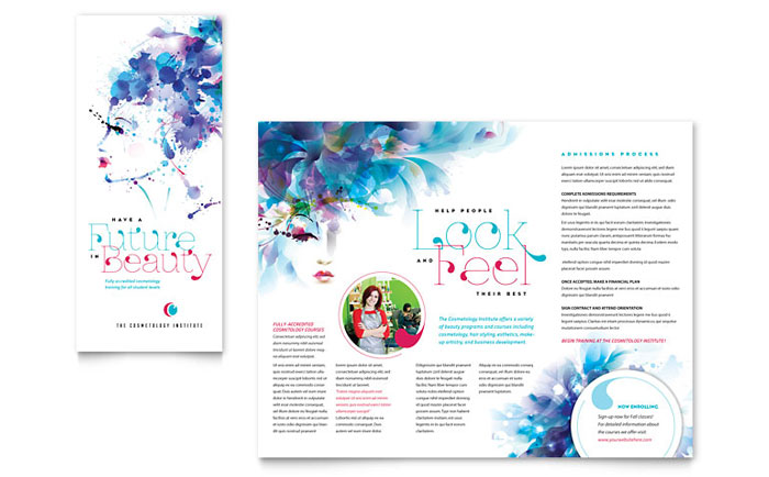Cosmetology Brochure Template Design - Workshop brochure template