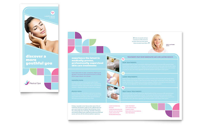 Medical spa brochure template design for Free medical brochure templates