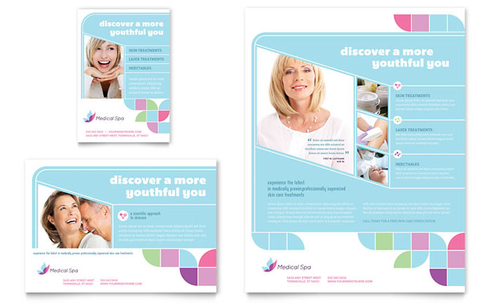 Medical spa flyer ad template design for Health pamphlet template
