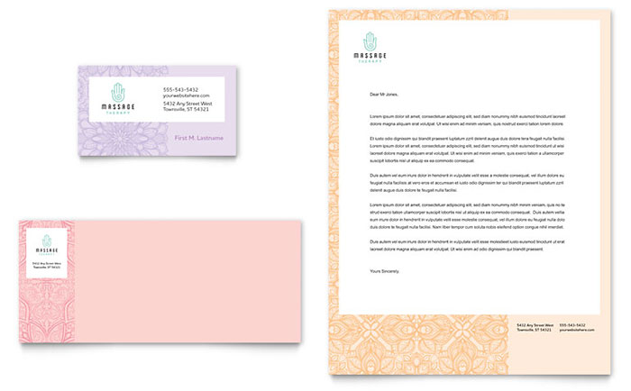 Massage Business Card & Letterhead Example