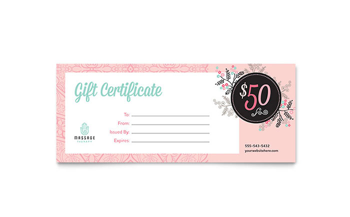 massage gift certificate template design