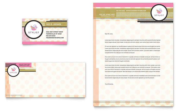 Hairstylist business card letterhead template design colourmoves