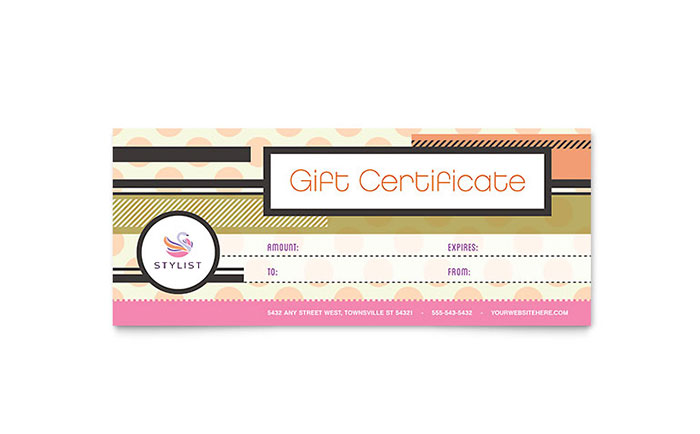 Hairstylist Gift Certificate Template Design Download - InDesign, Illustrator, Word, Publisher, Pages