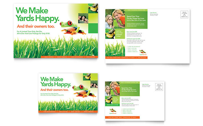 Lawn maintenance postcard template design for Garden maintenance flyer template