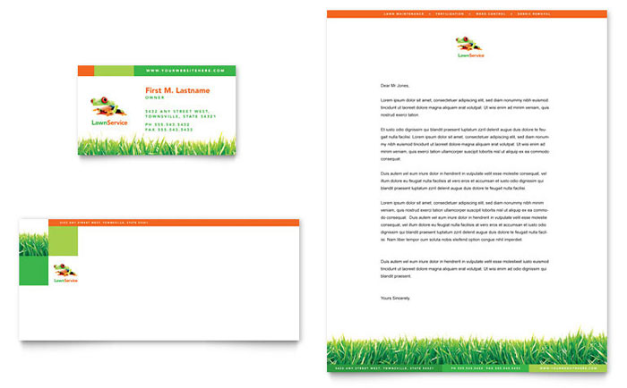 Lawn Maintenance Business Card Letterhead Template Design - Lawn care business cards templates free