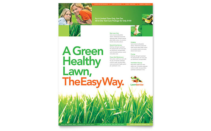 Lawn Maintenance Flyer Template Design Indesign Ilrator Word Publisher Pages