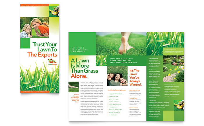 Lawn Maintenance Tri Fold Brochure Template Design