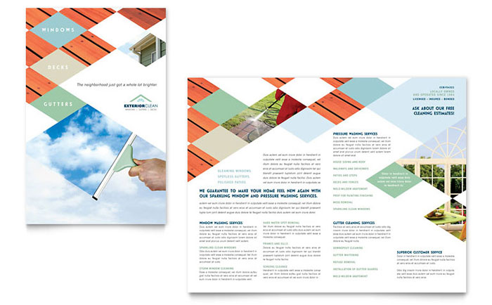 Window Cleaning & Pressure Washing Brochure Template Design - InDesign, Illustrator, Word, Publisher, Pages