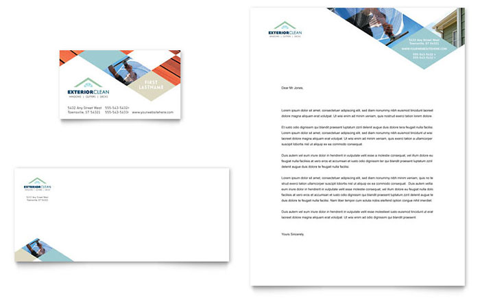 window cleaning pressure washing business card letterhead template design