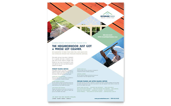 window cleaning amp pressure washing flyer template design