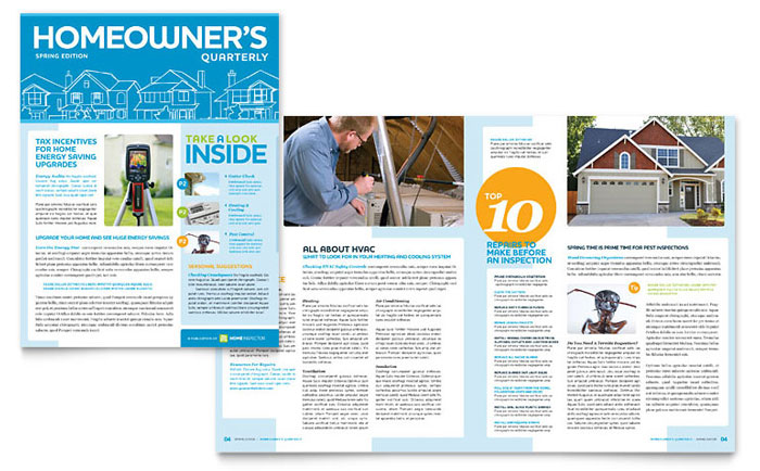 Home Inspection & Inspector Newsletter Template Design - InDesign, Illustrator, Word, Publisher, Pages