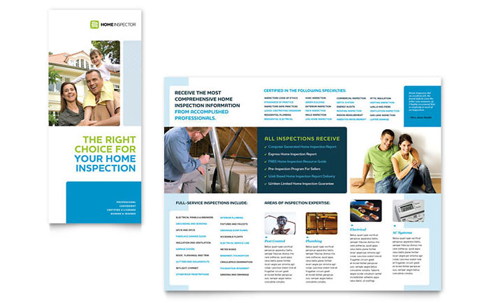 Home Inspection Inspector Tri Fold Brochure Template Design - Sales brochure template