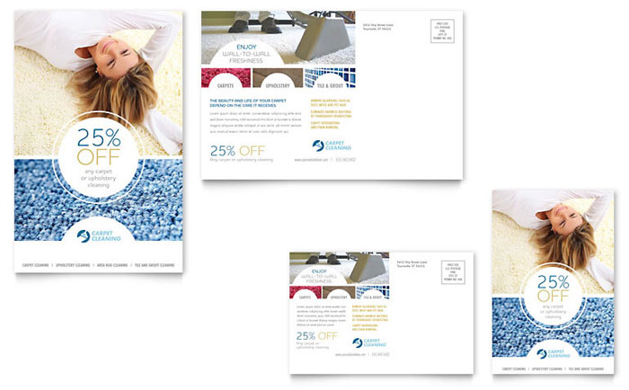 Carpet Cleaners Postcard Template Design Download - InDesign, Illustrator, Word, Publisher, Pages