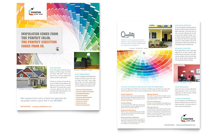 House Painting Contractor Datasheet Template Design Download - InDesign, Illustrator, Word, Publisher, Pages