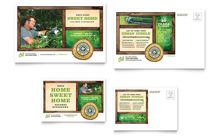 Tree Service Postcard Template Design